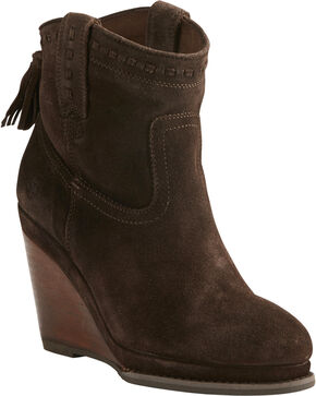 Ariat Women's Dark Brown Suede Broadway Wedge Booties - Round Toe, Dark Brown, hi-res