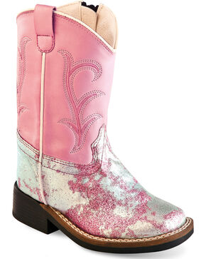 Old West Toddler Girls' Pink and Silver Western Boots - Square Toe , Pink, hi-res