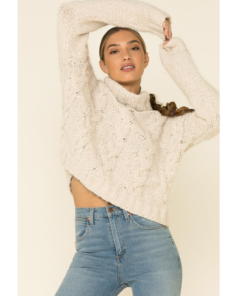 POL Women's Ivory Cable Knit Turtleneck Sweater , Ivory, hi-res