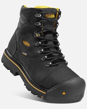 Keen Men's Milwaukee Waterproof Work Boots - Steel Toe, Black, hi-res