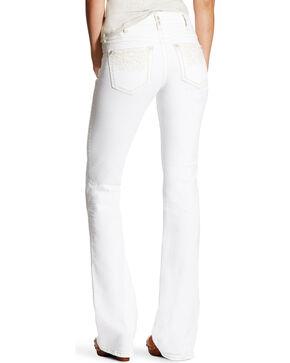 Ariat Women's R.E.A.L. Folk Flower Mid Rise Jeans - Boot Cut, White, hi-res