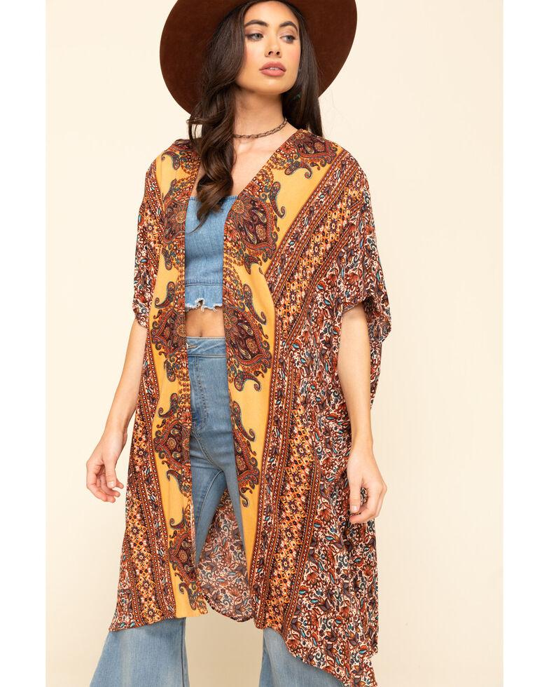 Angie Women's Gold Floral Border Print Challis Kimono , Dark Yellow, hi-res