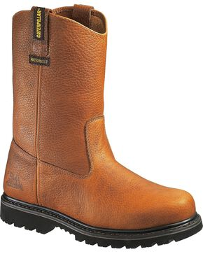 CAT Men's Edgework Waterproof Steel Toe Work Boots, Mahogany, hi-res