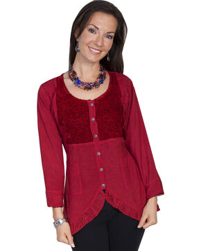 Scully Women's Ruffled Velvet Blouse, Burgundy, hi-res