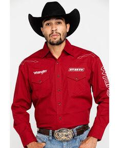 Wrangler Men's Red Geo Print PBR Logo Long Sleeve Western Shirt , Red, hi-res