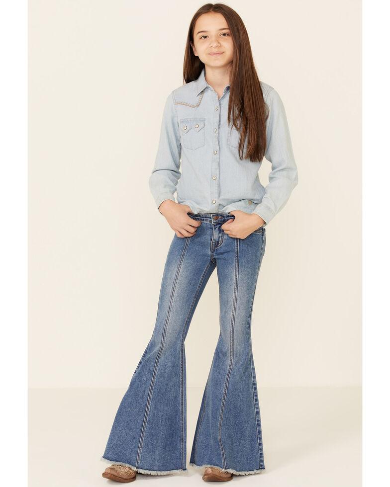 Rock & Roll Denim Girls' Medium Wash Fray Hem Bell Bottom Jeans , Light Blue, hi-res