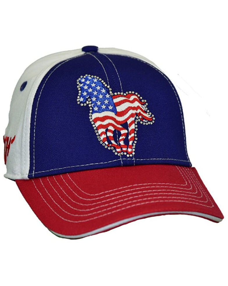 Cowgirl Hardware Girls' American Flag Pony Embellished Ball Cap, Red/white/blue, hi-res