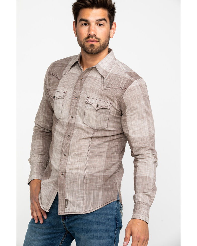 Wrangler Retro Men's Tan Ombre Plaid Long Sleeve Western Shirt , Tan, hi-res