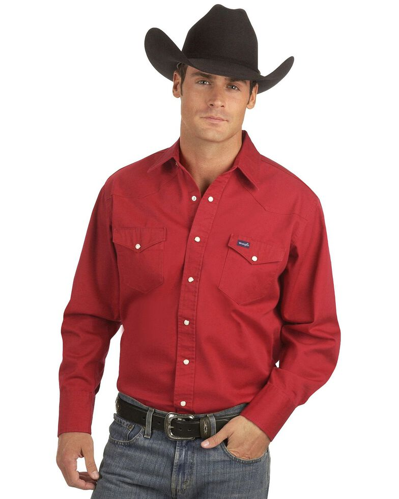 Wrangler Men's Cowboy Cut Work Western Shirts, Red, hi-res