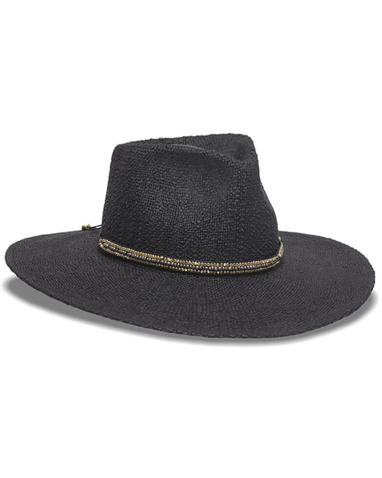 Nikki Beach Women's Monte Carlo Toyo Straw Rancher Hat , Black, hi-res