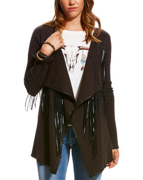 Ariat Women's Espresso Fringe Trenton Cardigan , Dark Brown, hi-res