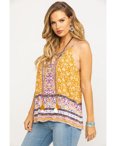Eyeshadow Women's Cognac Border Print Tassel Tie-Up Tank Top, Cognac, hi-res