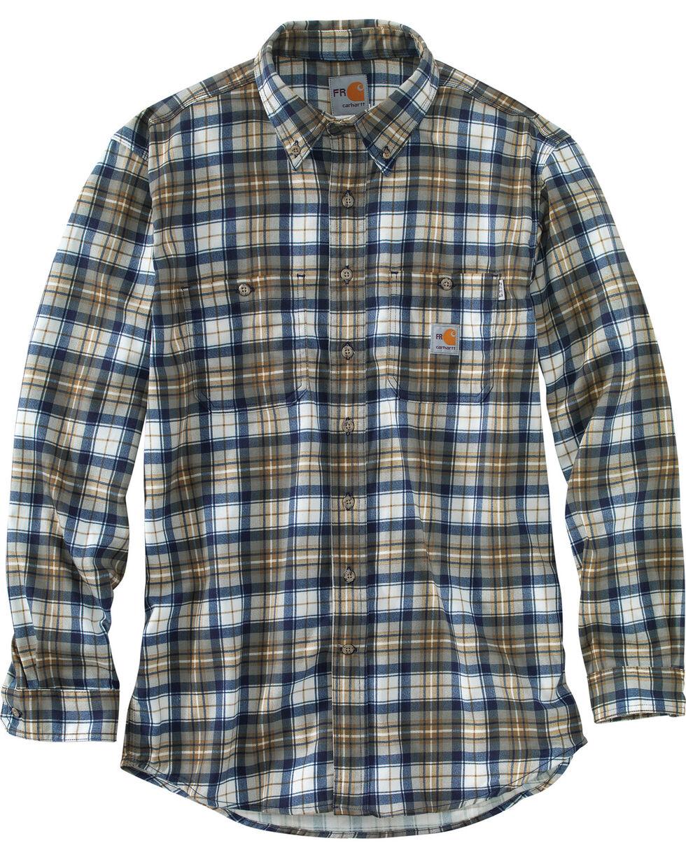 Carhartt Men's Flame Resistant Blue Brown Classic Plaid Shirt, Med Brown, hi-res