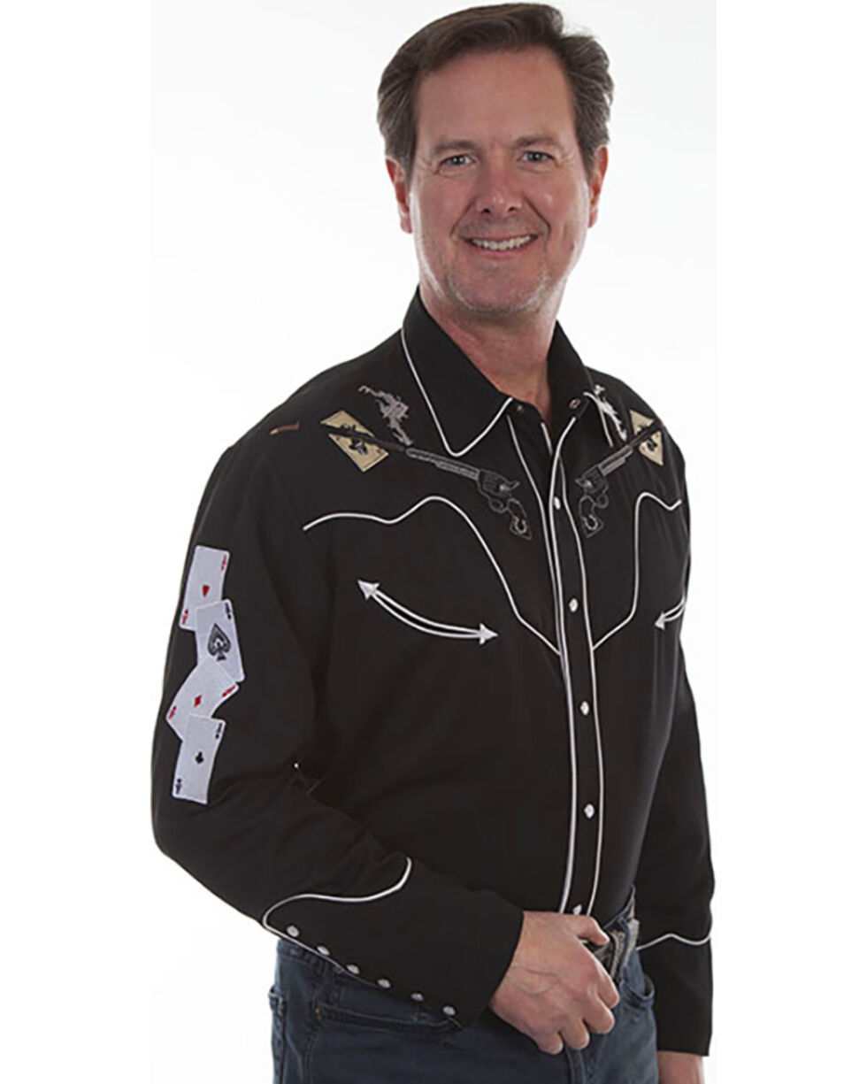 Scully Men's Pistols & Cards Embroidered Shirt , , hi-res
