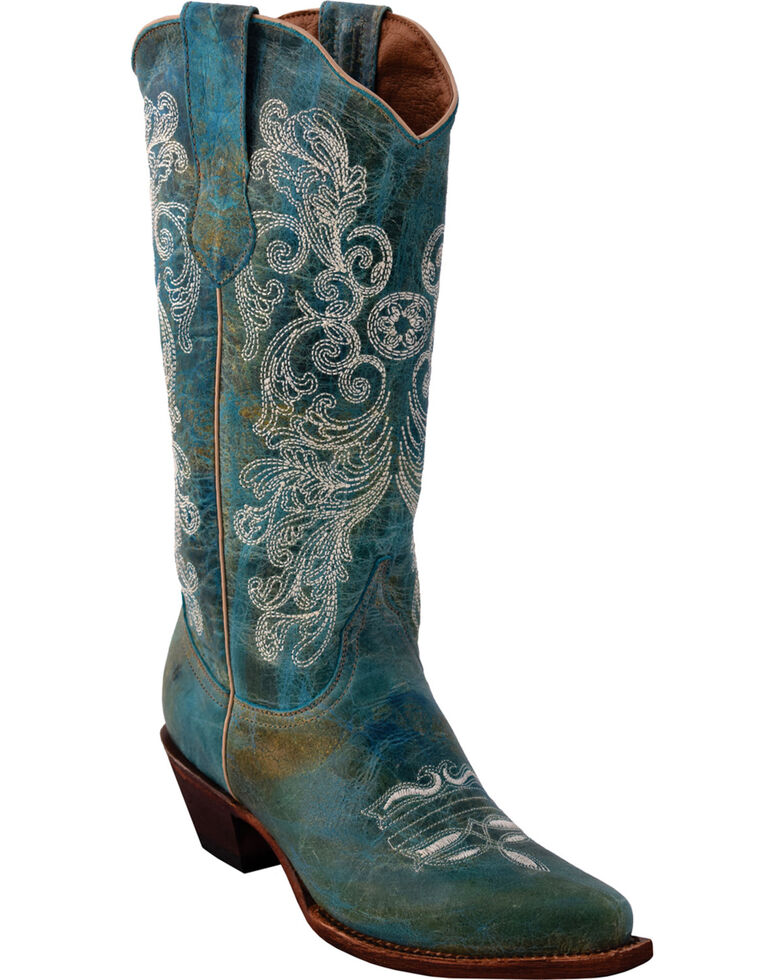 Ferrini Women's Southern Charm Turquoise Cowgirl Boots - Snip Toe, Turquoise, hi-res