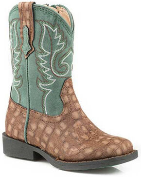 Roper Boys' Gator Western Boots - Square Toe, Brown, hi-res