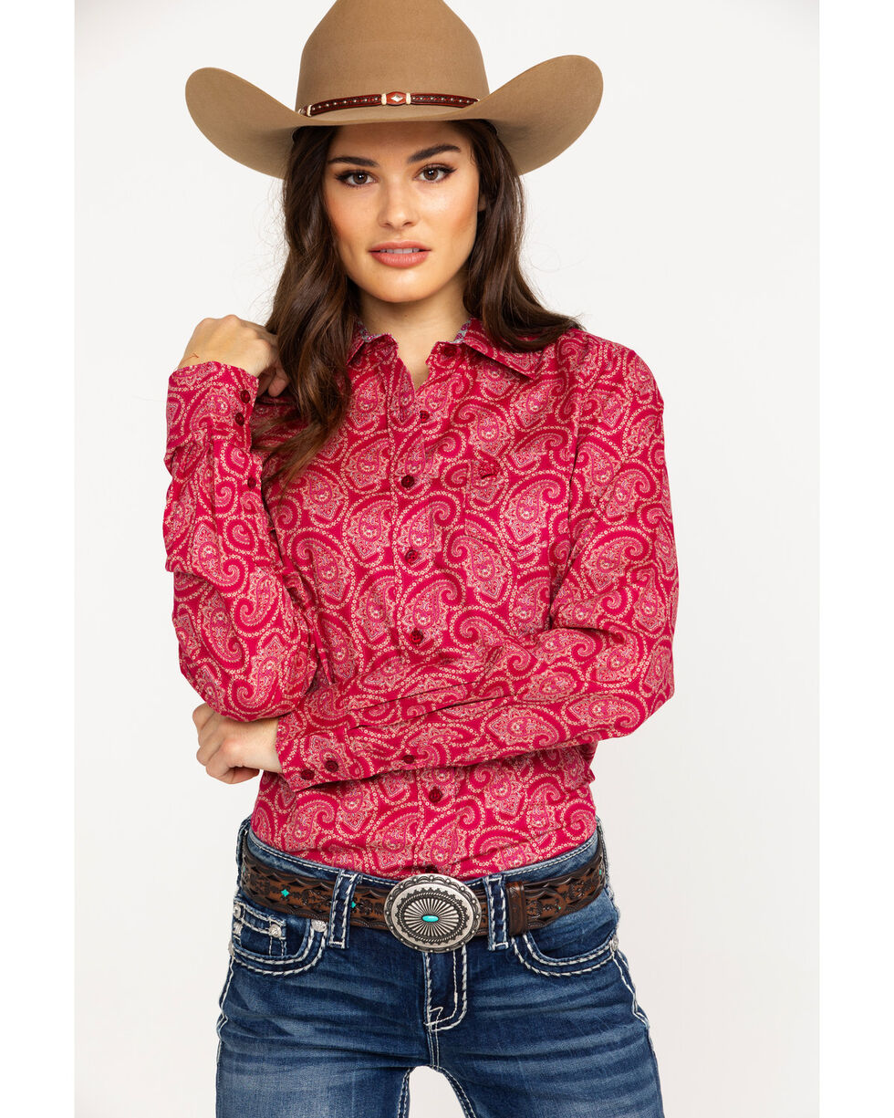 Cinch Women's Paisley Print Logo Button Long Sleeve Western Shirt , Burgundy, hi-res