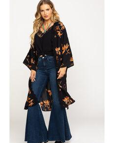 Nikki Erin Women's Black Tropical Floral Lace Kimono, Black, hi-res