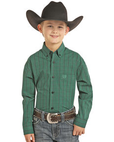 Panhandle Select Boys' Green Yarn Dye Check Plaid Long Sleeve Western Shirt , Green, hi-res