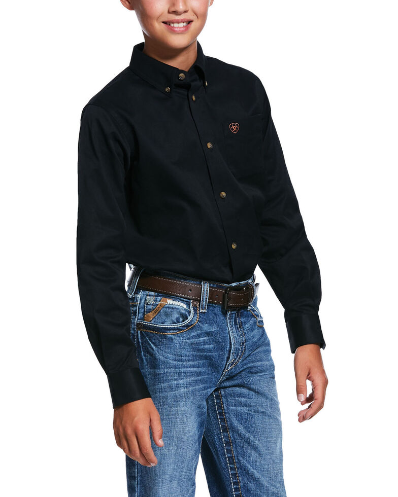 Ariat Boys' Black Solid Twill Long Sleeve Button-Down Western Shirt , Black, hi-res
