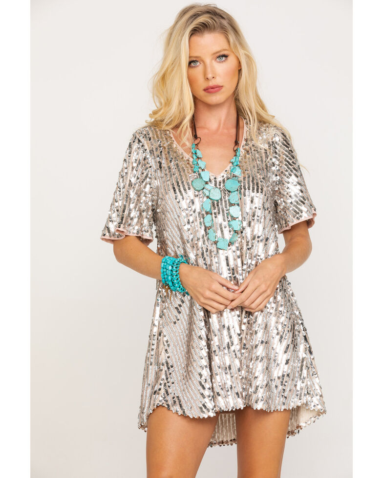 Show Me Your Mumu Women's Platinum Party Sequin Emi Tunic Dress, Silver, hi-res