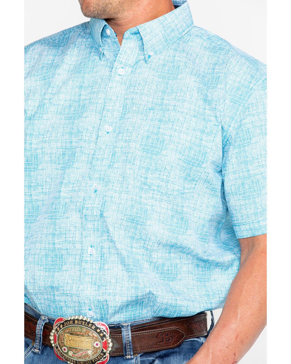Cody James Men's Gradiant Jigsaw Print Short Sleeve Western Shirt , Blue, hi-res