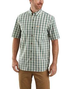 Carhartt Men's Green Essential Plaid Button Down Short Sleeve Work Shirt - Big , Green, hi-res