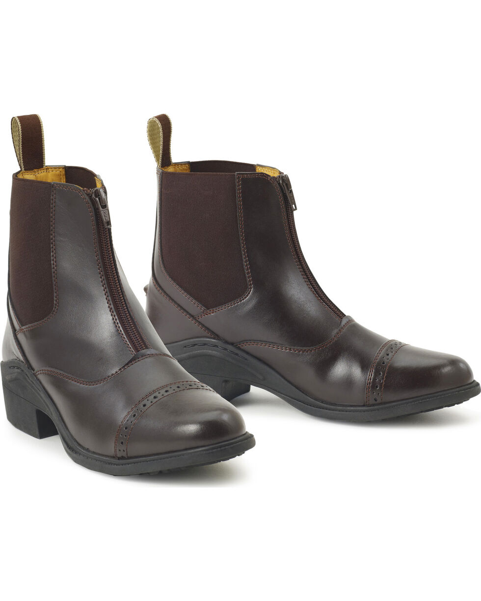Ovation Kids' Synergy Zip-Front Paddock Boots, Brown, hi-res
