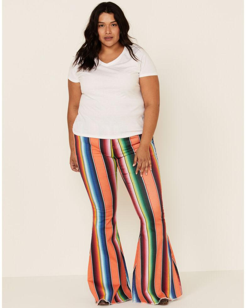 Ranch Dress'n Women's Serape Print Super Flare Jeans - Plus, Multi, hi-res