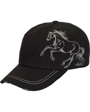 Western Express Women's Horse Embroidered Black Vintage Cap, No Color, hi-res