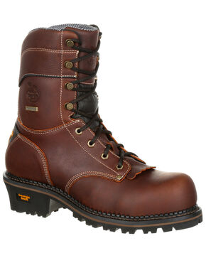 "Georgia Boot Men's Amp LT 9"" Waterproof Logger Boots - Round Toe, Brown, hi-res"