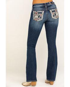 Miss Me Women's Dark Wash Floral Fleur De Les Bootcut Jeans, Blue, hi-res