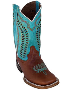 Ferrini Girls' Brown Cowhide Western Boots - Square Toe, Brown, hi-res