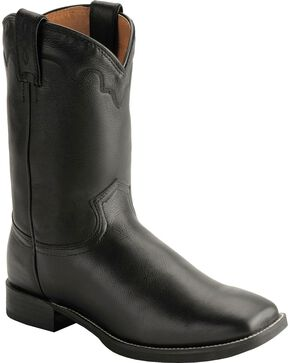 Justin Men's Naked Finish Square Toe Western Boots, Black, hi-res