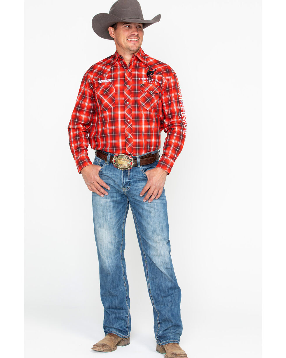 Wrangler Men's Red Plaid Pendleton Whisky Logo Long Sleeve Western Shirt , Red, hi-res
