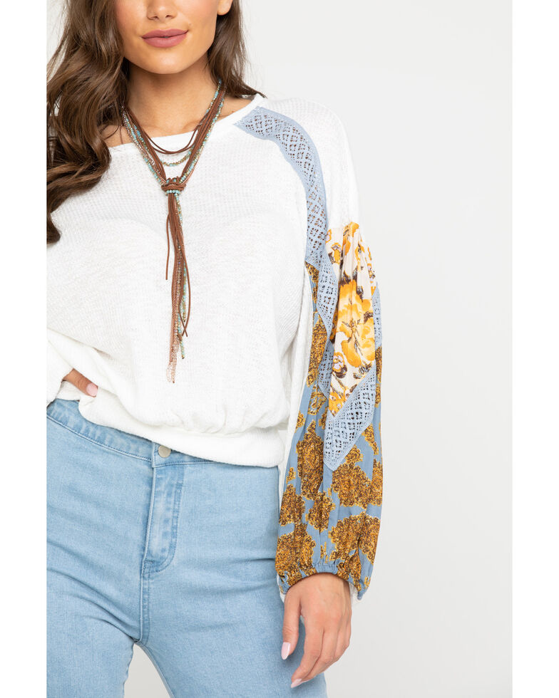 Free People Women's Casual Clash Top, Ivory, hi-res