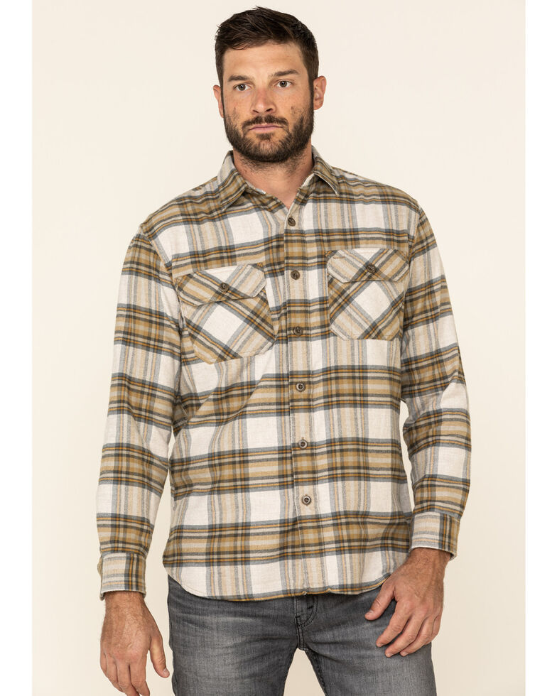 Pendleton Men's Ivory Burnside Large Plaid Long Sleeve Western Flannel Shirt , Ivory, hi-res