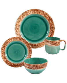 HiEnd Accents Turquoise Wyatt Dinnerware Set - 16 Pieces , Turquoise, hi-res