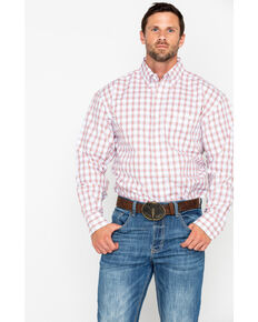 George Strait by Wrangler Med Plaid Long Sleeve Western Shirt , Coral, hi-res
