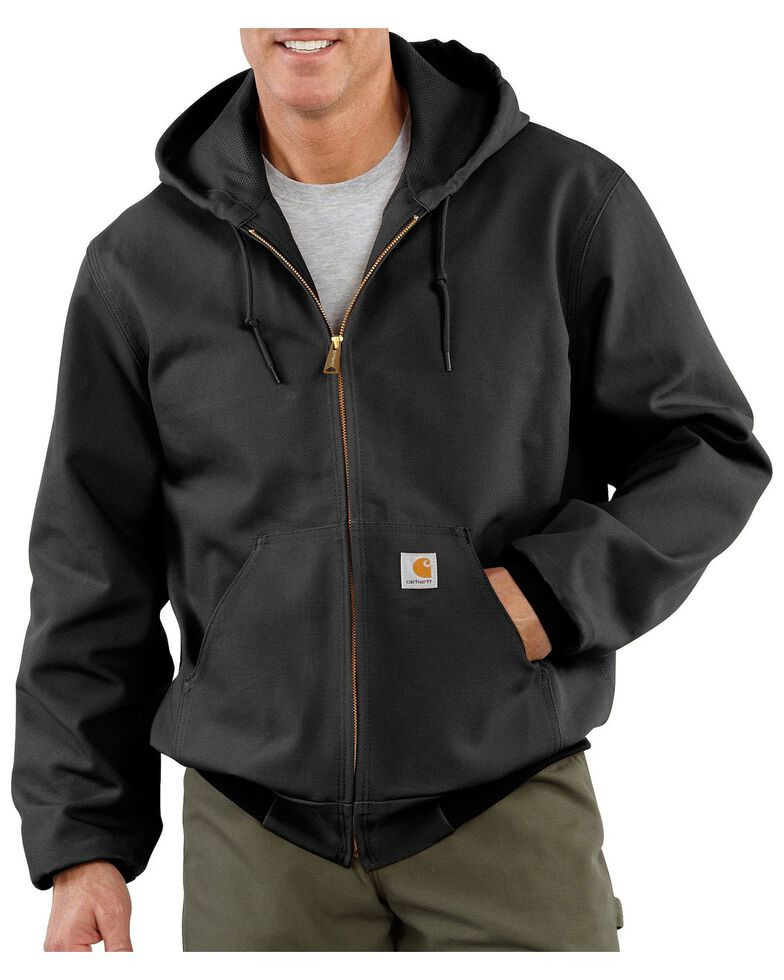 Carhartt Thermal Lined Canvas Hooded Jacket, Black, hi-res