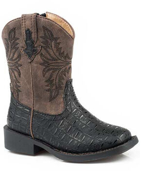 Roper Boys' Chomp Western Boots - Square Toe, Black, hi-res