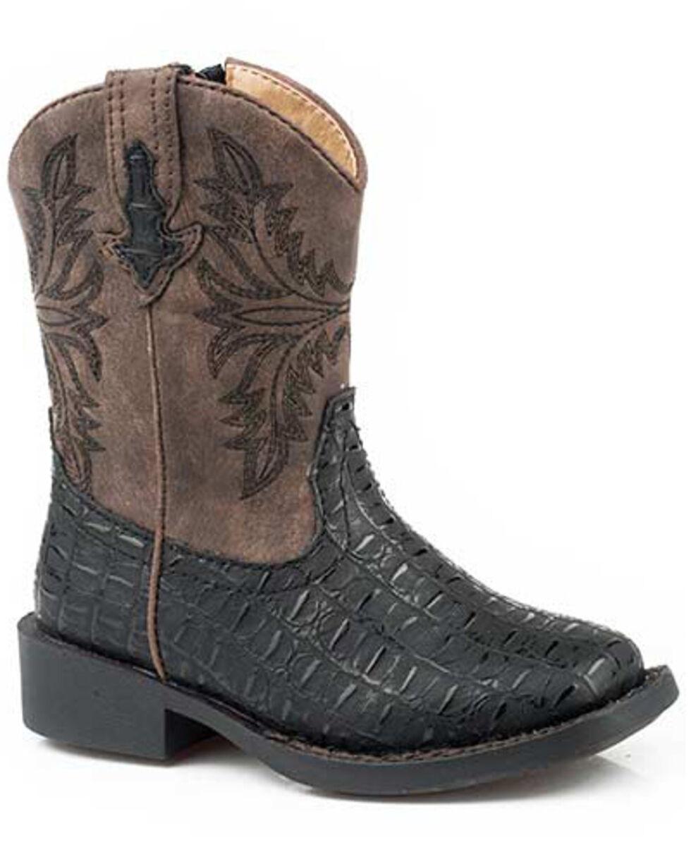 Roper Boys' Chomp Western Boots - Square Toe, Black, hi-res