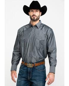 Wrangler Men's Silver Edition Striped Long Sleeve Western Shirt , Black, hi-res
