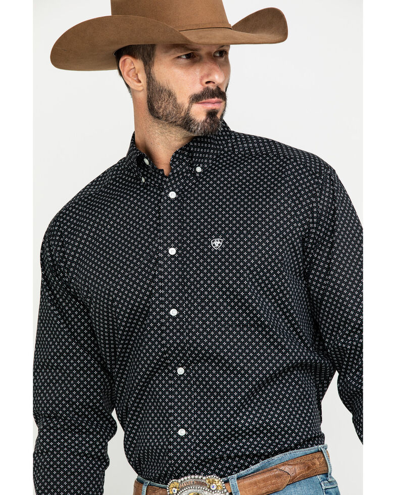 Ariat Men's Orchard Geo Print Long Sleeve Western Shirt - Tall , Black, hi-res