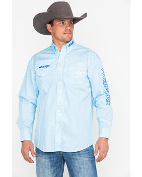 Wrangler Men's Blue Print Logo Long Sleeve Western Shirt, Light Blue, hi-res