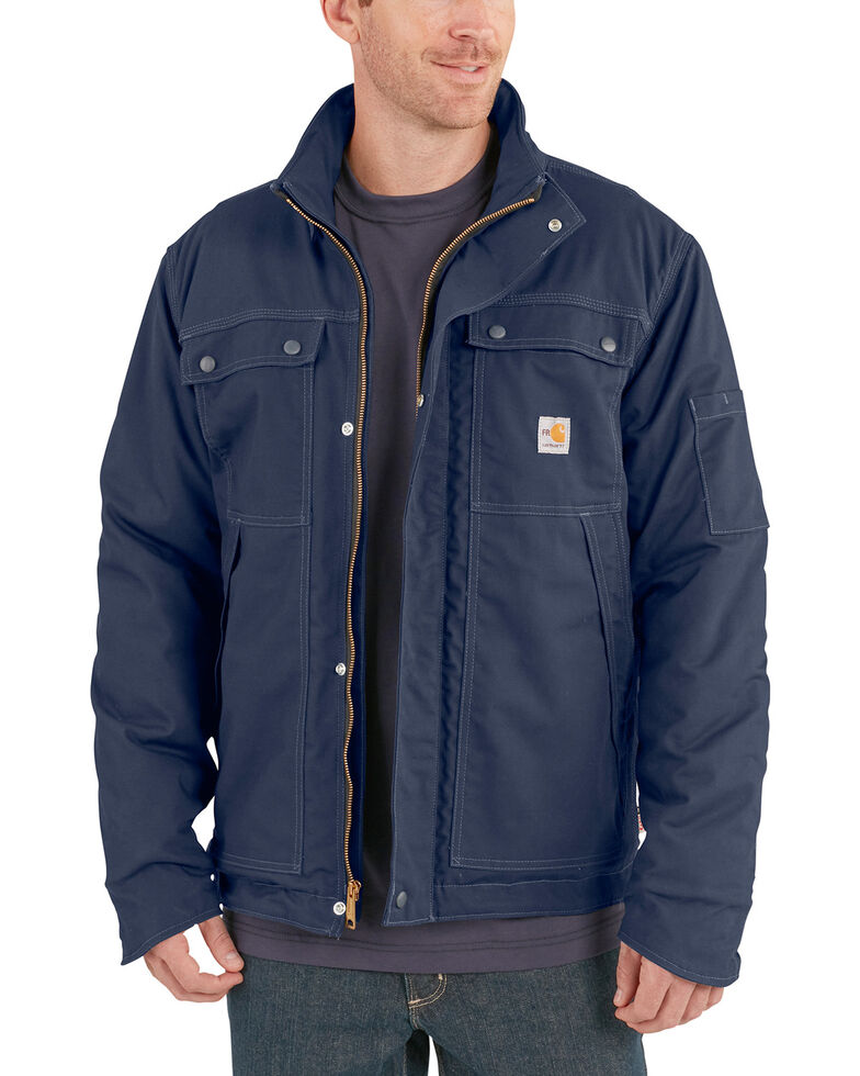 Carhartt Men's Flame-Resistant Full Swing Quick Duck Work Coat , Navy, hi-res