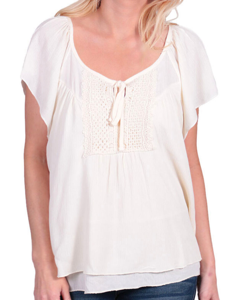 Shyanne Women's Tie-Front Flutter Short Sleeve Top, Cream, hi-res