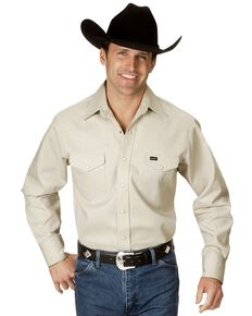 Wrangler Men's Solid Cowboy Cut Firm Finish Long Sleeve Work Shirt, Stone, hi-res