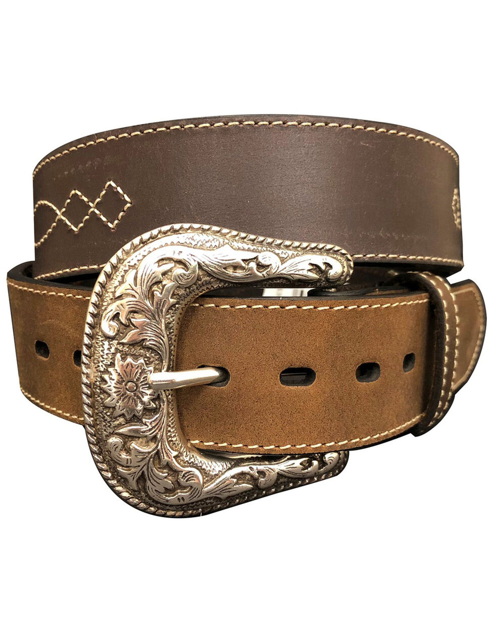 G-Bar-D Men's Brown Diamond Concho Leather Belt , Brown, hi-res