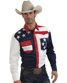Roper Men's American Flag Long Sleeve Western Shirt, Patriotic, hi-res
